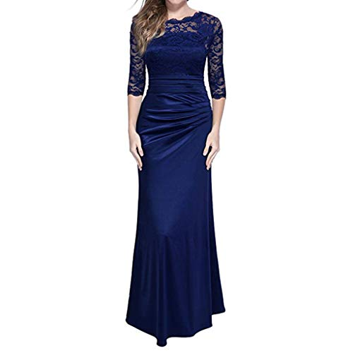 """IZHH Damen Abendkleider Retro Floral Formale Spitze Vintage 2/3 Ã""""rmel Schlank Maxi Kleid Cocktailkleid Bankett Abschlusskleid(Blau-1,XX-Large)"""