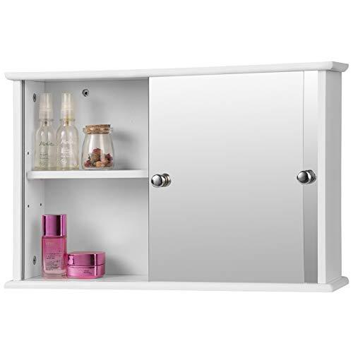 Eugad mobiletto pensile da bagno con specchio armadietto bianco lucido da lavabo con due porte 55x14x36cm 0021wy