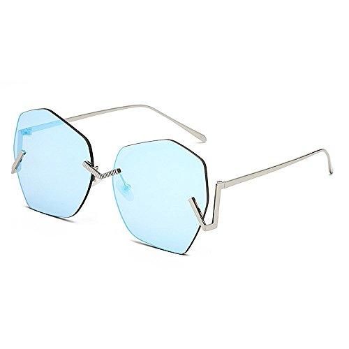 Ppy778 UV400 Damen Herren Mode Retro Übergroße Randlose Sonnenbrille (Color : Brown)