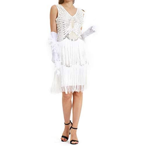 (iYmitz Damen Jahrgang 1920er Frauen Ärmellos V Ausschnitt Kleids Stricken Festliches Ballkleid Strickkleid Partykleider (Weiß,EU-42/CN-2XL))