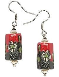 Anuva Women's Metal Dangle and Drop Earrings(Black, Red)