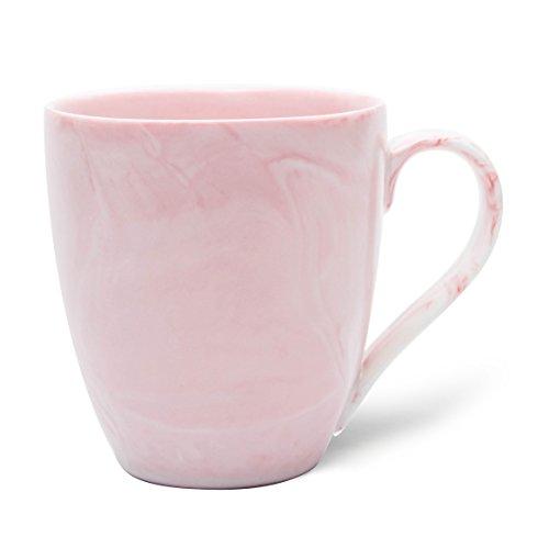 Hausmann & Söhne XXL Taza Grande de Porcelana Blanca en mármol Rosa Pastel   Jumbo Cup 500 ML (550 ML Lleno hasta el Borde)  Taza de Café/Taza de Té   Idea de Regalo
