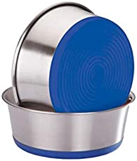 Elton Heavy/Premium Dog Bowls (Blue) Export Quality with 100% Silicon Bonded Rubber Base Stainless Steel Dog Food Bowl Feeder Bowls Pet Bowl for Feeding Dogs Cats and Pets (Medium 1.2 L)