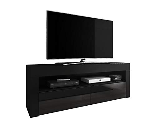 E-Com TV Schrank TV-Möbel TV Möbel Entertainment Lowboard Luna 140 cm Korpus schwarz matt/Fronten schwarz Hochglanz Schwarz Tv