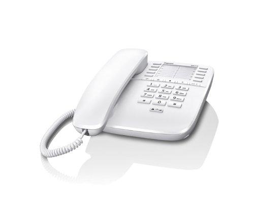 Gigaset DA510 Telefon - Schnurgebundes Telefon/Schnurtelefon mit Kurzwahl - Einfaches Telefon Freisprechen Stummschaltung Mute/Analog Telefon - weiß