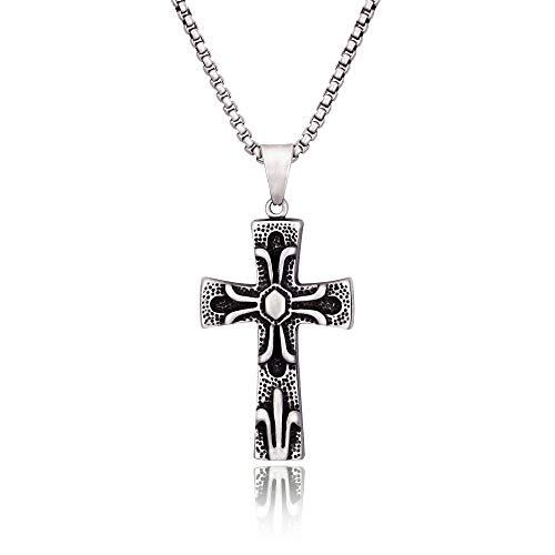 BOFEE Kreuz Halskette Coole Anhänger Halskette Ankh Anhänger Schmuck Kette Halskette für Männer Frauen, 64cm
