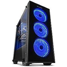 NOX Torre ATX Hummer TG Fan Blue LED Torre Negro carcasa de ordenador - Caja de ordenador (Torre, PC, SPCC, ATX,ITX,Micro-ATX, Negro, Juego)