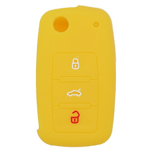 fassport-silicone-cover-skin-jacket-for-volkswagen-skoda-seat-3-button-flip-remote-key-cv2802-yellow