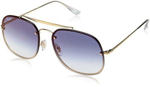 Ray-Ban Unisex-Erwachsene 0RB3583N 001/X0 58 Sonnenbrille, Gold/Cleargradientbluemirrorred