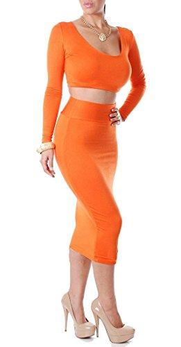 QIYUN.Z Neue Rundhals Langarm-Normallackfrauen Reizvolle Bodycon Party Club Midi-Kleid Damen Kleid Jumpsuit Overall Orange