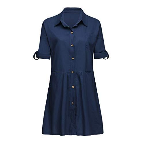 Elegante kleider Damen Kleid Cocktailkleider Ronamick Lässige solide Boho Turndown-Damenkleider aufrollen Sleeve Tasche Taste Leinenkleid(M, Marine) -