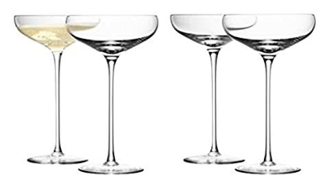 LSA International Wine Champagne Saucer, Glass, Clear, 300 ml, Set of 4