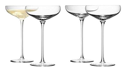 LSA International vin champagne Soucoupe, verre, transparent, 300 ml, Lot de 4