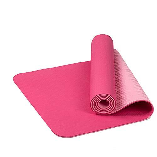 PDDXBB Yoga-Matte TPE 6Mm Übungsmatten Doppelseitige Übungsfarbe Für Turnhalle GMY Rosa 183 * 61 * 0.6Cm