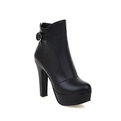 VogueZone009 Damen Reißverschluss PU Leder Metall Schnalle Niedrig-Spitze Stiefel, Weiß, 40