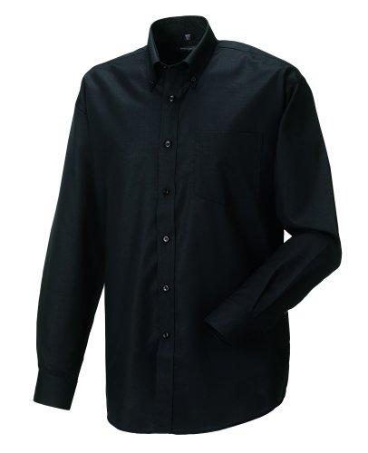 Z932 Langärmeliges Oxford-Hemd Herren Hemd Oberhemd XXL / 45/46,Black -