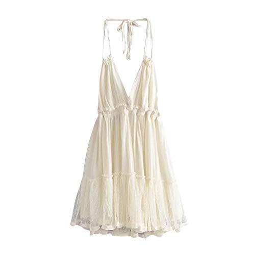 iYmitz Damen Kleid Spleißen Crochet Spize Trägerlose Club Rückenfreies Cocktailkleider Pendant Kostüm Kleider(Weiß,EU-36/CN-M) (Paso Doble Tanz Kostüme)