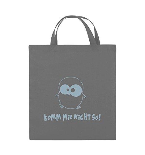 Comedy Bags - Komm mir nicht so! - EULE - Jutebeutel - kurze Henkel - 38x42cm - Farbe: Schwarz / Pink Dunkelgrau / Eisblau