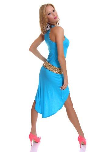 Damen Vokuhila Shirt-Kleid Minikleid Midikleid Trägerkleid Strandkleid Sommerkleid Türkis