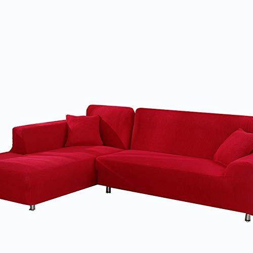DADAO Slipcovers Divano per Soggiorno, Tutto compreso Combinazione Divano copertine Cotone Protezioni 2 posti a 3 posti-Rosso- 1 Pezzo 190-230cm(75-91inch)