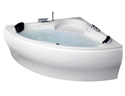 eckwanne 140x140 Whirlpool Badewanne Karibik Profi MADE IN GERMANY 140 x 140 oder 150 x 150 cm mit 21 Massage Düsen + Unterwasser Beleuchtung / Licht + Heizung + Ozon Desinfektion + MIT Messing Armature