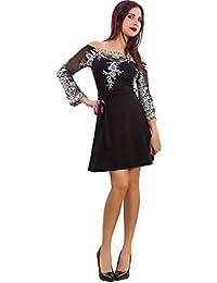 b16a730934fd Toocool - Vestito Donna Elegante Mini Abito Scollo Barchetta Maniche  Trasparenti VB-8522