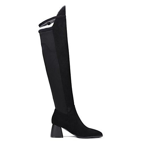 VogueZone009 Donna Scarpe A Punta Tacco Medio Alta Altezza Puro Stivali con Metallo Nero