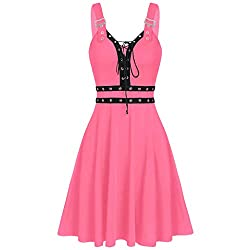 Lazzboy Kleid Frauen Kühle Feste Verband Unregelmäßiger Rand ärmelloses Unterhemd Minikleid Damen Gothic Ledergürtel Plissee Strap Street Punk Cosplay(Rosa,2XL)