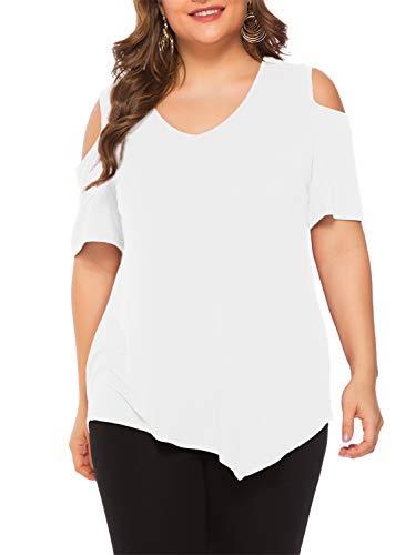 Beluring Große Größe Damen Schulterfreies Oberteil Weiß T-Shirt Bluse Sommer Weiß 2XL