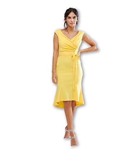ASOS RRP £60 New EX Lemon Yellow Tall Wrap Front Peplum Hem Midi Dress 8 ae240071d34
