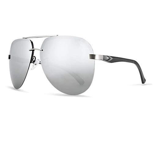 XIELH Sonnenbrille Aluminium Magnesium Polarisierte Sonnenbrille Männer 62Mm Objektiv Sonnenbrille Two-Tone Brille, Silber