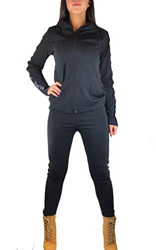 Worldclassca Damen Jogginganzug Jogging Trainingsanzug Fitness Yoga Gym Sportanzug Streifen Love Jacke Hose Set Sporthose Sport Langarm Zip Hoodie Blogger (XL/XXL - (40-44), Schwarz - Peace&Love)