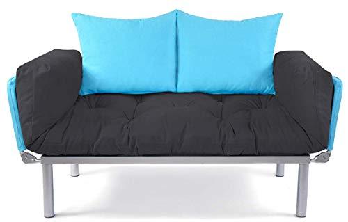 EasySitz Schlafsofa Sofa 2 Sitzer Kleines Couch 2-Sitzer Schlafsessel für Zweisitzer Personen Mein Futon Sitzen EIN Einer Farbauswahl (Anthrazit & Türkis) - Wohnzimmer Modernen Futon-rahmen