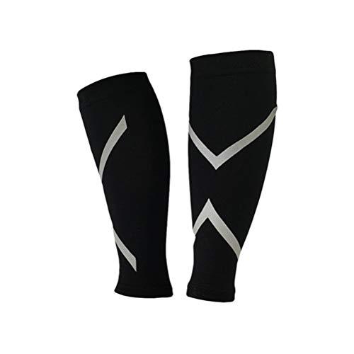 LIOOBO Kompressionsstulpen Beinlinge Wadenbandage Calf Sleeves Kompressionsstrümpfe für Laufen Radfahren Reise Gröeß M 1 Paar (Schwarz)