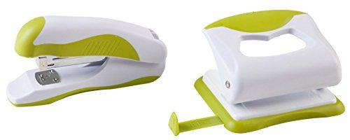 Idena 300836 - Locher und Heftgerät im Set, grün / weiß