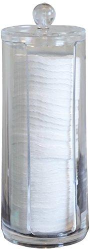 Fantasia almohadillas de algodón dispensador con tapa de acrílico transparente Altura 20.5 cm