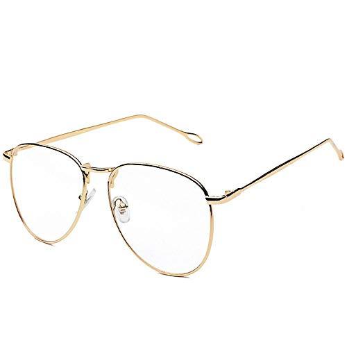 BAACHANG Damen Retro rundes Gesicht Metall runder Rahmen Flachglasrahmen (Farbe : Gold)