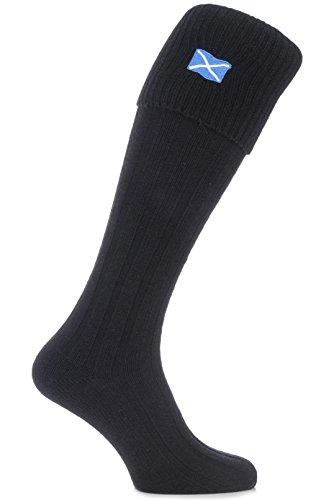 Die HJ Halle Männer 1 Paar Saltire Scottish Flag aus Wollmischung Kilt Socken 6-10 Herren Schwarz