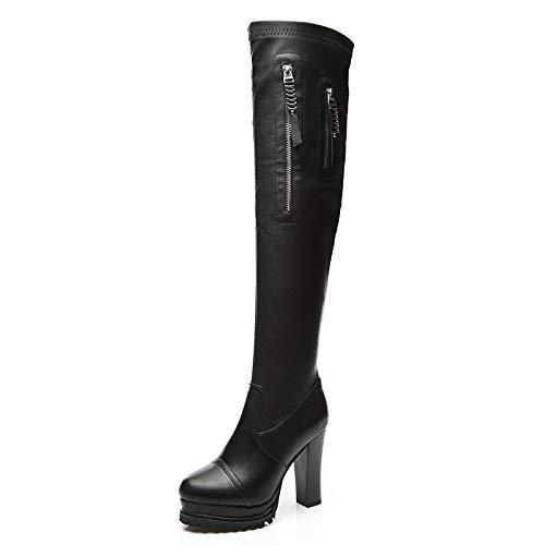 Kalb Hohe Plattform (AOOEL Damen Oberschenkel Hoch Hohe Stiefel Overknees Blockabsatz Plattform Stretch Stiefel Schuhe,Black-EU:35=5.5B(M) US)