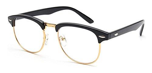 Outray Vintage Retro Classic medio marco Horn con borde transparente lente gafas dorado Black/Gold Talla única