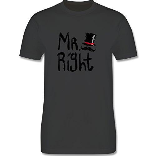 *Hochzeit – Mr. Right Pinsel – L – Dunkelgrau – L190 – Herren Premium T-Shirt*