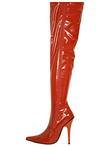 Lack High Heel Stiefel (Lack pu Stiefel Overknee high Heel 13cm Bolingier Poland Size 35-47 FS39 FS36 (39, red))