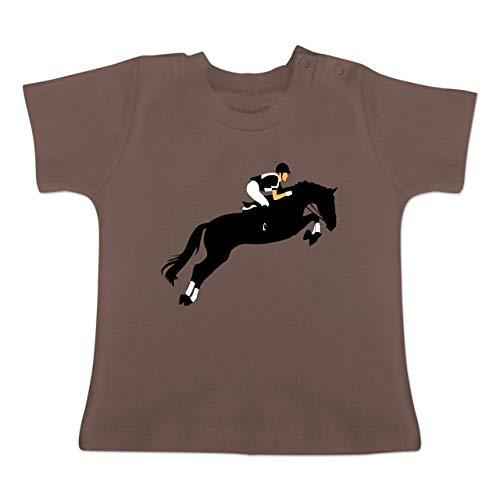 Sport Baby - Springreiten Springreiten - 3-6 Monate - Braun - BZ02 - Baby T-Shirt Kurzarm