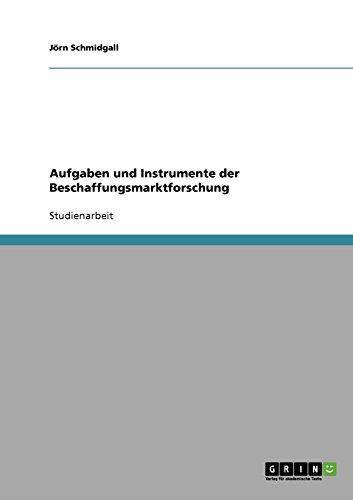 Aufgaben und Instrumente der Beschaffungsmarktforschung