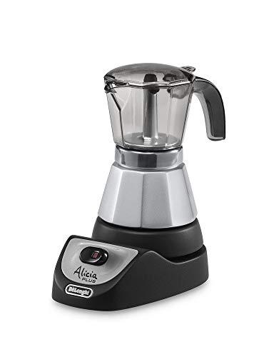 De'Longhi Alicia EMKM 4 - Cafetera independiente, semi-automática, 450 W, 2-4 tazas, metal, negro/plata/transparente