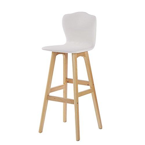 WEI MING Shop- Retro Bar Fauteuil Chaise haute en bois massif en bois massif pour meubles de cuisine et de cuisine, coussin en cuir PU Tabouret de bar (Couleur : Blanc, taille : 74cm)