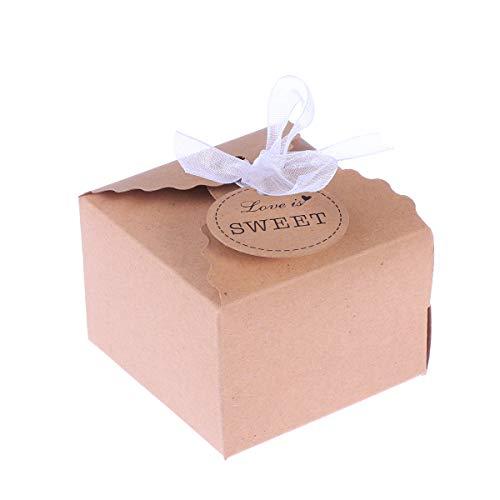 SUPVOX Kraftpapier-Bevorzugungs-Kästen, 50pcs Würfel-Süßigkeitskästen behandeln Geschenkkästen mit Chiffon-Garn für Hochzeits-Brautparty-Geburtstagsfeier