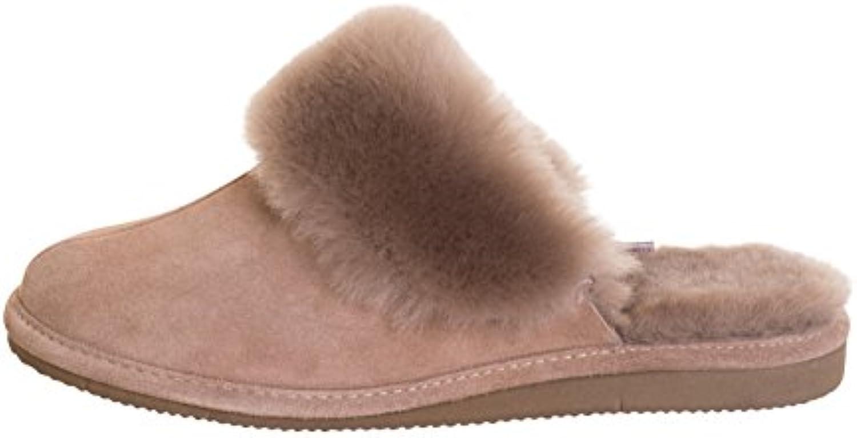 Zapatillas Mujer Cuero de Oveja Zapatos de Casa Acolchado Caliente Lana P00