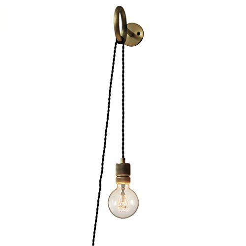 DIY Wandleuchte Retro Kreativ Industrie Edison-Lampe, 2.0 Meter Kabel mit Stecker, Spiegelleuchte Nachttischlampe mit Schalter Loft Mode Wandlampe Esszimmer Bar Design Leuchte Messing E27 Fassung -