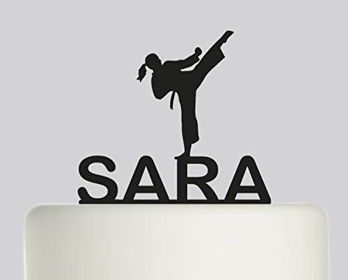 Tortenaufsatz für Geburtstag Taekwondo Karate - personalisierbar mit Ihrem Namen